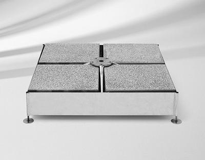 Sockel M4, 180 kg, 91 x 91 11.5-19.5 cm, Stahl verzinkt