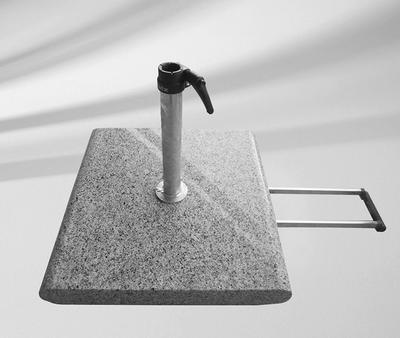 Sockel Granit Z, 55 kg, 55 x 55 x 9 cm, Naturstein, mit Rollen und ausziehbarem Handgriff