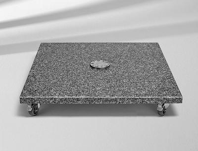 Sockel Granit M4, 120kg, 90 x 90 x 17 cm, Naturstein, mit Rollen