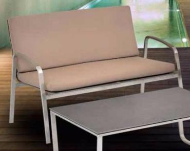 Lounge SF 2er-Sofa Edelstahl Leisuretex